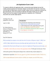 Basic Resume Cover Letter Examples by Job Cover Sample Letter 8 Examples In Word Pdf
