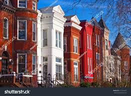 Row Houses by Row Houses Mount Vernon Square Washington Stock Photo 317761472