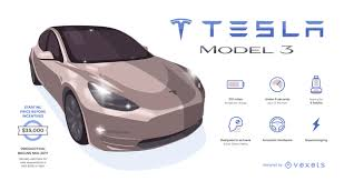 tesla 3 infographic with key information vector download