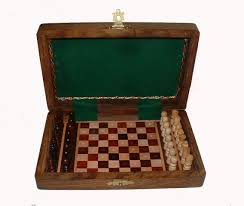 travel chess set images Wooden travel chess set within small wooden chess case hoyles games jpg