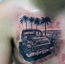 palm trees and truck tattoo on muscles real photo pictures