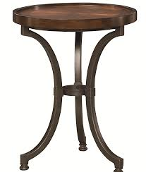 Small Round Accent Table by Round Chairside Table With Metal Base By Hammary Wolf And