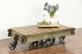 coffee table oak salvage antique factory cartffee table