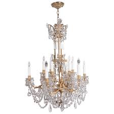 Baccarat Chandelier Louis Xvi Style Three Tier Gilt Bronze And Baccarat