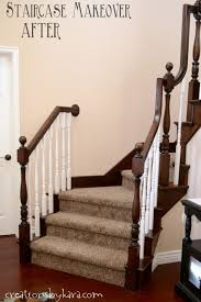 Stair Banister Diy Staircase Makeover With Stain And Paint