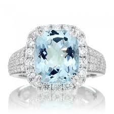 aquamarine and diamond ring 4 carats total weight genuine aquamarine and diamonds