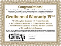 Williams Comfort Air Carmel Geothermal Warranties Geothermal Renewable Energy