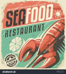 royalty free retro seafood restaurant poster with u2026 298078766
