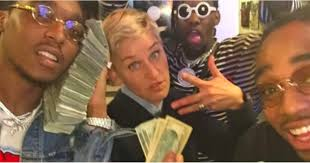 Migos Meme - ellen degeneres picture with migos february 2017 popsugar celebrity