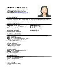Resume Sample Doc Philippines by Sample Of Simple Resume In Malaysia Augustais