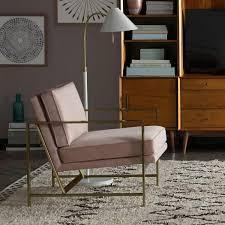 Metal Armchair Metal Frame Upholstered Chair Dusty Blush West Elm Au
