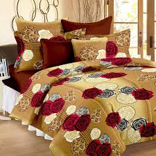 Bed Sheet Story Home Vivid Roses Cotton Double Bedsheet With 2 Pillow Covers