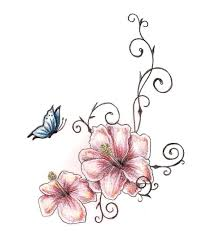 butterfly and flower tattoos designs amazing two hibiscus flower