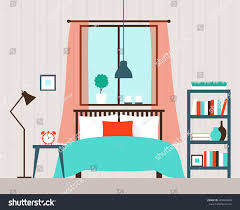 vector interior bedroom window stock vector 489449608 shutterstock vector interior of the bedroom with window