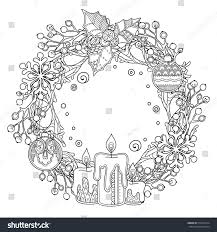 christmas wreath doodle style floral ornate stock vector 512019514