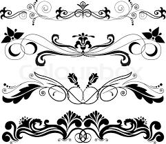 vector illustration four horizontal decorative ornament stock