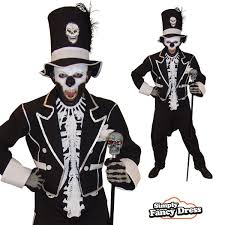 James Bond Costume Halloween Mens Baron Samedi James Bond Zombie Halloween Fancy Dress Costume