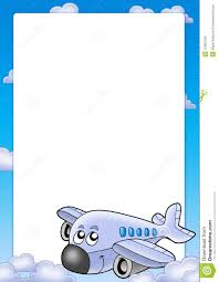 frame with cute airplane and clouds stock illustration image