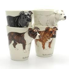 staffordshire bull terrier lover mug ceramic 3d cup handmade
