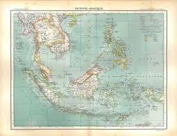 Vintage Map 1889 Vintage Map Asian Archipelago Philippines Sumatra Sarawak