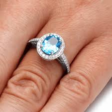 blue topaz engagement rings swiss blue topaz engagement ring with halo in white gold
