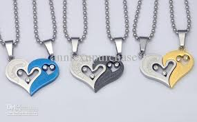 couples heart necklace images Wholesale wholesale mixed lovers sweethearts couples titanium jpg