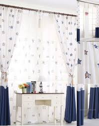 White And Navy Curtains Pattern Curtains In White And Navy Blue Colors