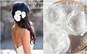 fleurs cheveux mariage idées de coiffure mariée bohème cheveux longs fleur melle