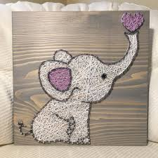 Handmade Nursery Decor by Custom Elephant String Art Sign Baby Elephant Love Art