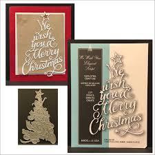 christmas tree metal cutting die we wish you elegant script