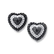 dramatic earrings heart earrings black white diamonds sterling silver