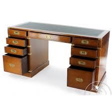 bureau en bois massif bureau bois et cuir 9 tiroirs officier saulaie