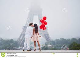 Beautiful Eiffel Tower by Beautiful Romantic Couple Near The Eiffel Tower In Paris Stock