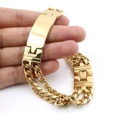 double gold bracelet images Men fashion jewelry gold bracelet 22cm length double lines jpg