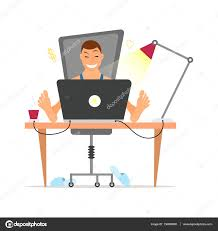 freelancer working remotely from his desk freelance concept in