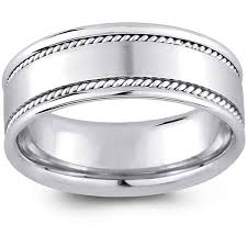 14k white gold wedding band 14k white gold men s rope detail comfort fit wedding band 8 mm