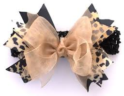 bow for hair cheetah sparkle silver couture hair bow headband