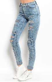 Destroyed High Waisted Jeans Stone Wash Destroyed Skinny Jeans Ladies Denim High Waist Jeans