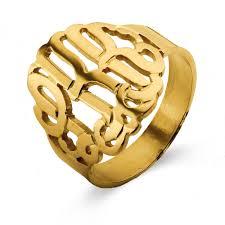 gold monogram ring gold vermeil custom monogram ring s addiction