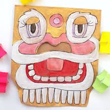 lion dancer book new year paper bag lion masks and a book list pink