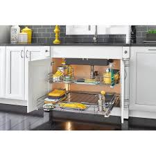 the kitchen sink cabinet organization rev a shelf 5 25 in h x 29 5 in w x 22 in d chrome