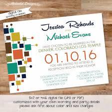 Lds Wedding Invitations Midcentury Modern Wedding Invitation Reception Mormon Lds Temple