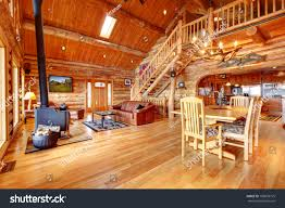 large luxury log house living room stock photo 100878775 large luxury log house living room with staircase