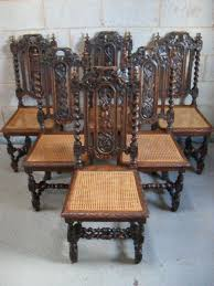 Bergere Dining Chairs Set Of Six Victorian Carved Oak Barley Twist And Bergere Seat