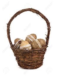 wooden easter baskets wooden easter basket filled with rustic handmade easter eggs