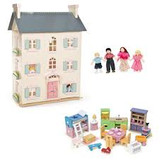 Dolls House Furniture Sets Le Toy Van Cherry Tree Hall Bundle With Furniture And Dolls Family