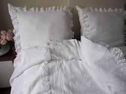 white linen king ruffled bedspread bobbin lace trim with euro
