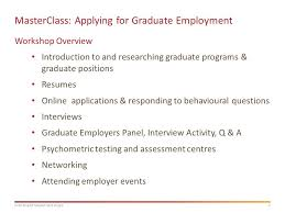 Resumes Online For Employers by Masterclass Applying For Graduate Employment Ppt Download