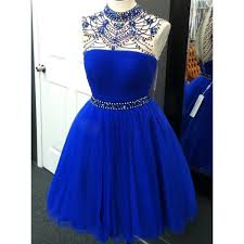 royal blue tulle high neck homecoming dress with beaded belt sweet royal blue