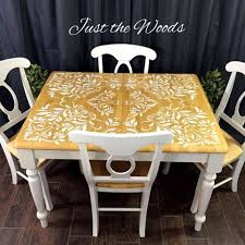 damask stenciled dining set by just the woods
